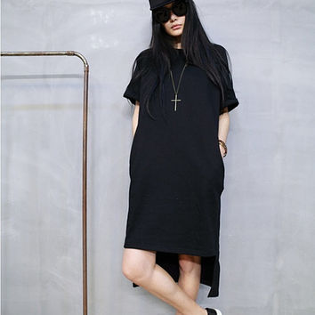 High low t-shirt dress/black shirt dress/plus size t-shirt/short sleeve tees/loose t-shirt/long t-shirt/cotton t-shirt dress (ESR36)