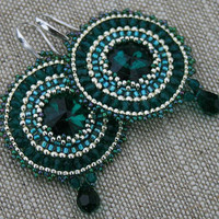 crystal earrings, dangle earrings, statement earrings, beadwoven green, emerald tone seed beads earrings beaded earrings boho, hoop earrings