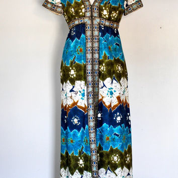 Vintage 60s Hawaiian Maxi Dress