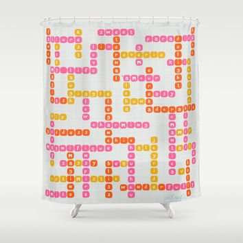 Crossword Scrabble Puzzle Feel-Good Positive Words Affirmations Mustard Pink pattern Inspirational Thoughts Shower Curtain Bathroom Decor