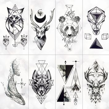 Black Geometric whale Temporary Tattoo Moon Deer Rose Tattoo Stickers Women Party Body Arm Art Fake Tattoo Leaf Men Flower Hands