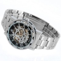 Transparent Skeleton Black Dial Silver Stainless Steel Mechanical Men Cuff Watch