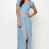 Honey Punch Button-Down Maxi Skirt at PacSun.com