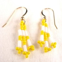 White and Yellow Seed Bead Earrings Clip On Earing Clip On Earring Small Seed Bead Jewelry Bugle Bead Earring Ear Beads on Handmade Artists' Shop