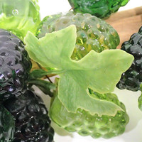 Mid Century Kitsch Green Acrylic Berry clusters on Driftwood, Retro Lucite resin Green Raspberries, black berries, strawberries