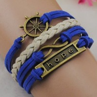 Rudder hope infinity Antique bronze korea velvet friendship Leather Cute Bracelet B249