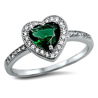 .925 Sterling Silver Green Emerald Heart Halo Engagement Ring Ladies size 5-10