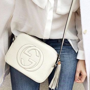 GUCCI Hot Selling Fashion Lady Big Double G tassels Bag White