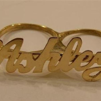 Personalized 14k gold overlay any name 2 finger RING/two finger name ring/Gift/a1