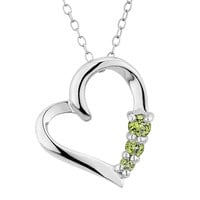Peridot Heart Pendant Necklace 3/10 Carat (ctw) in Sterling Silver with Chain