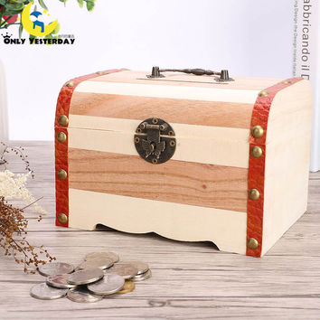 Good Quality Wood Money Box ,Cute Piggy Bank With Lock Coin Box Alcancia,Vintage Birthday Gifts For Sale