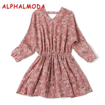 ALPHALMODA Spring Women's Casual Floral Printed Dress Batwing Sleeve Elastic Waist Long-sleeved Loose Prince Vestidos