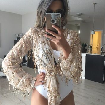 ♡ Shinning Kimonos Sequin Tassel Long Sleeve Crop Top ♡