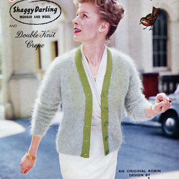 1950's Shaggy Darling Two Tone Mohair Jacket - Woman's Cardigan - Original Vintage Knitting Pattern Not A Copy - Robin 888