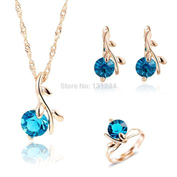 2016 Unique Peacock Blue Gems Water Drop Pendant Necklace Rings Jewelry Sets for Women Rose Gold Color Wedding Jewelry Set