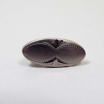 Small Oval Vintage Tie Clip, Swank Signed, Matte Silver Tone, Mid Century 1950s 50s, Skinny Tie Jewelry, Hipster Mens
