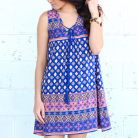 Take Me Away Printed Dress {Blue Mix}