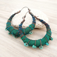 Silk Road Gypsy Hoop Earrings, Medium, Eclectic, Copper, Blue, Green and Turquoise, Silk Wrapped