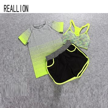 Women Sport Suit Running Clothes Yoga Suit Summer Bra Set 3 Piece Female Short-sleeved Shorts Outdoor Quick Drying Sportswear
