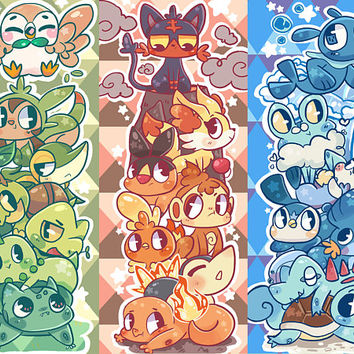 Pokemon Starters - Holographic Prism Bookmark