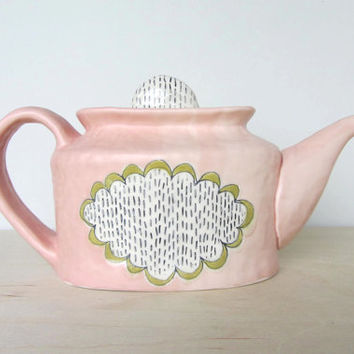 Doily Patterned Teapot with Peach and Olive Green