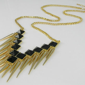 V Bib Pendant w/ Black Squares and Gold Rivet Spikes Fringe Venetian Box Chain - Statement Necklace - Stella & Dot Inspired - Unique Jewelry