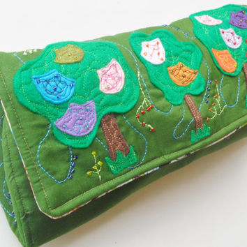 Army Green Diaper Clutch in Tree and Flower Pattern with Beads