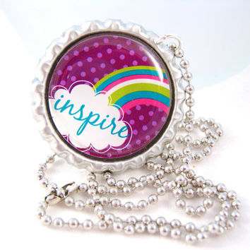 Inspire Bottle Cap Necklace Inspirational Saying Positive Words Encourage Rainbow Picture Pendant Fashion Jewelry
