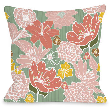 """Oriental Flowers"" Outdoor Throw Pillow by OneBellaCasa, Green, 16""x16"""