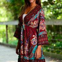 Paisley Love Dress, Burgundy