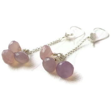 Lavender Chalcedony Dangle Sterling Silver by candyamorjewelry