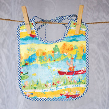 Unisex Babies Bib OOAK Hand Made for Boy or Girl Row your Boat abstract print with blue and white gingham binding