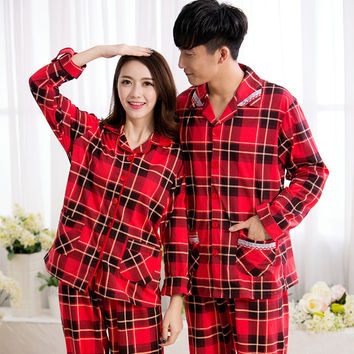 2016 Nightwear Spring Men Women Couple Pajama Sets Plaid Cotton Full Long Sleeve Pyjamas Sleepwear Casual Soft Homewear