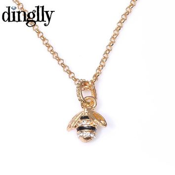 DINGLLY Lovely Queen Bee Pendant Necklace For Women Gift Fashion Handmade DIY Pandora Necklace Jewelry
