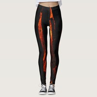 Abstract fire and burning wood pattern leggings