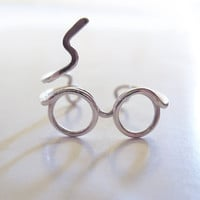 Harry Potter Ring - Glasses Ring, Lighting Scar - Sterling Silver Wire Wrap Ring, Adjustable - Cool, Funny, Geeky Gift for Friend