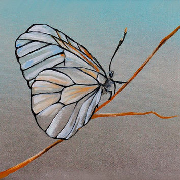 Stained Glass Wing Butterfly - Acrylic Painting on Canvas with Spray Painted Background