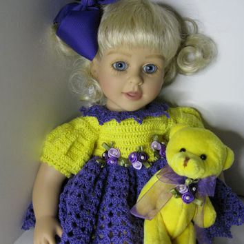 My Twin Cuddley Sisters or Galoob Baby Face Doll Clothes Handmade crochet purple and yellow Summer Dress outfit only