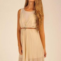 Off-white Day Dress - Beige Pleated Asymmetrical Dress with | UsTrendy