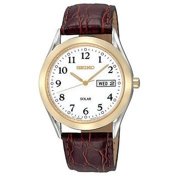 Seiko Solar Mens Watch - White Dial - Two-Tone Case - Brown Leather Strap - 36mm