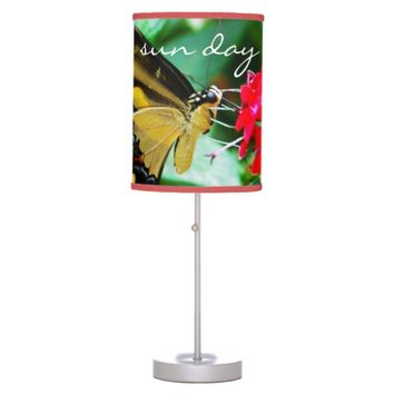 """Sun day"" yellow black butterfly photo table lamp"