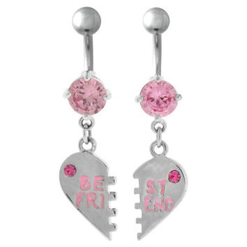 Best Friend Belly Button Rings Puzzle Pink Rhinestone Crystals CZ Surgical Steel Dangle