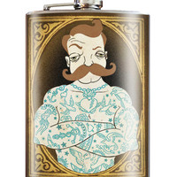 Trixie and Milo Tattooed Man 8 oz. Stainless Steel Flask