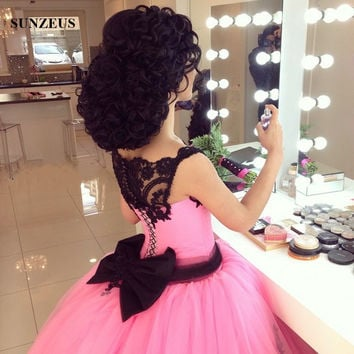 Ball Gown Pink Wedding Dress With Black Lace And Bow Saudi Arabic Women Corset Bridal Gowns Vestido De Casamento SAU744