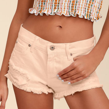 Gigi Pale Pink Distressed Denim Cutoff Shorts