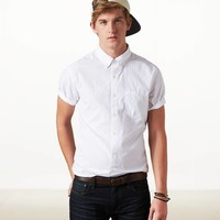 AEO Men's Solid Short Sleeve Button Down (White)