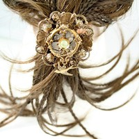 Steampunk Watch Hair Accessory Vintage Style by designsbloom