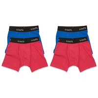 4-Pack 100% Combed Cotton Boxer Briefs (Blue/Red)