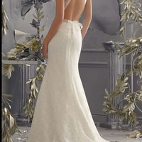 Mermaid Lace Backless wedding dress bridal gown