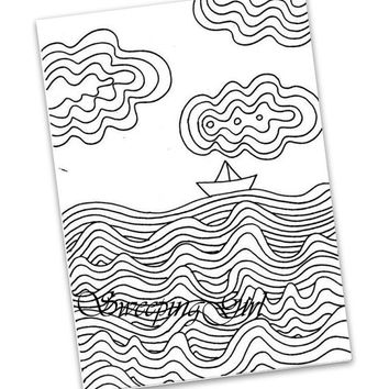 Paper boat Printable beginner easy tropical sea coloring page sheet digital download kid children adult coloring page distressed beach page